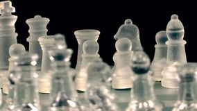 Chess game made of glass. Video stock footage
