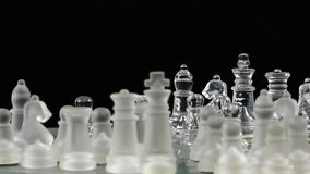 Chess game made by glass. Video stock footage
