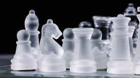 Chess Game Made by Glass. Video stock video footage