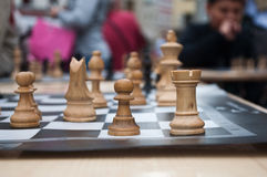 Chess game in outdoor Royalty Free Stock Image