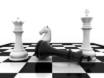Chess  game over. Chess king checkmate - game over Royalty Free Stock Photos