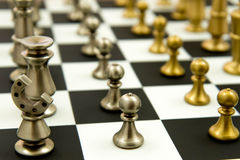 Chess Game - Pawns In Rows, Lined Up Royalty Free Stock Photography
