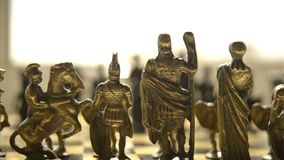 Chess game. Chess pieces artificial slow motion video