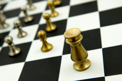 Chess game - pieces in play on chessboard Stock Images