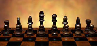 Chess game with pieces on the table Stock Photography