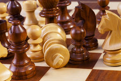 Chess Game in Progress Fallen King Stock Photo