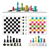 Chess Game Set with Pieces and Chessboards. Isolated stock illustration