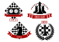 Chess game sport emblems and icons. With chessboard, clock, king, queen, knight and pawn, decorated by laurel wreath and ribbon banners Stock Photography