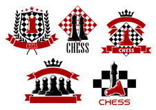 Chess game sporting club emblems design. Chess game sporting emblems design with kings, queen, rook and pawns pieces on chessboard, supplemented by heraldic Stock Photography