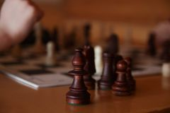 Chess game. Success. Sports. Chess financial business strategy concept. Chess board, Chess Pieces, Two Chess Teams stock photography