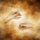 Chess Game. Two hands holding knight and king chess pieces against a mist shrouded chessboard pattern background Royalty Free Stock Photography