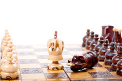 Chess Game with two Kings between back rank lines, white background, space for your text. Two Chess Kings between back ranks lines, one King checkmated the other royalty free stock image