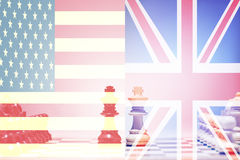 Chess game USA vs UK.  Stock Photo