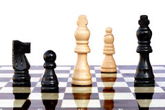 Chess game variation. Black moves on and wins the game Royalty Free Stock Images