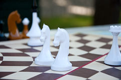 Chess game. White Chess pieces on the hexagonal board. Royalty Free Stock Photography