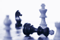 Chess game white king defeating black king. Blue tone royalty free stock image