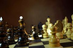 Chess game. Wooden chess pieces Stock Photos