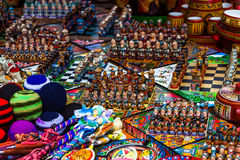 Chess games. Made with figures representing Spaniards and Indians, in the Indian market of Otavalo Royalty Free Stock Image