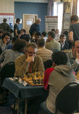 Chess games room. Playing chess tournament Gibraltar Tradewise Festival in January and February 2015. It is an editorial image  in vertical Royalty Free Stock Photography