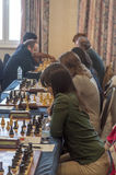 Chess games room. Playing chess tournament Gibraltar Tradewise Festival in January and February 2015. It is an editorial image  in vertical Stock Images