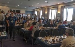 Chess games room. Playing chess tournament Gibraltar Tradewise Festival in January and February 2015. It is an editorial image Royalty Free Stock Image