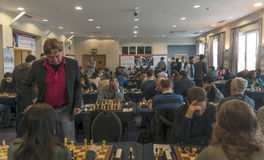 Chess games room. Playing chess tournament Gibraltar Tradewise Festival in January and February 2015. It is an editorial image Royalty Free Stock Photo