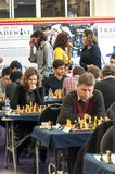 Chess games room. Playing chess tournament Gibraltar Tradewise Festival in January and February 2015. It is an editorial image  in vertical Stock Photo