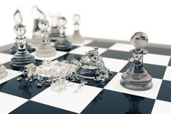 Chess games, victory, success in competition, leadership in business, transparent pawns on a white background, 3d Royalty Free Stock Photo