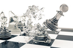 Chess games, victory, success in competition, leadership in business, transparent pawns on a white background, 3d Royalty Free Stock Photos