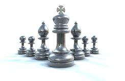 Chess Gang. A 3D composition of a chrome chess pieces placed on a white background Stock Image