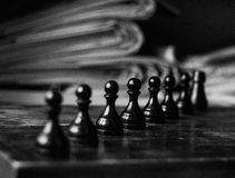 Chess. Geometry and contrast. Old chess Stock Photos