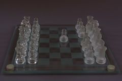 Chess of glass, the beginning of the game. Royalty Free Stock Photos