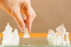 Chess glass start up game Royalty Free Stock Photos