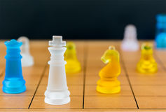 Chess glass on a wood chessboard Stock Images