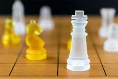 Chess glass on a wood chessboard Royalty Free Stock Image