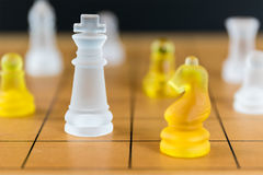 Chess glass on a wood chessboard Royalty Free Stock Photos