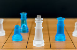 Chess glass on a wood chessboard Stock Image