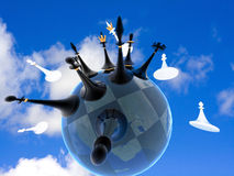 Chess global war on earth against the sky royalty free stock image