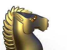 Chess golden knight head Stock Photography