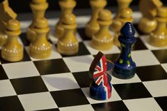 Chess Great Britain and the European Union confrontation Royalty Free Stock Photos