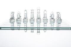 Chess group transparent glass blur silhouette team challenge Stock Photos