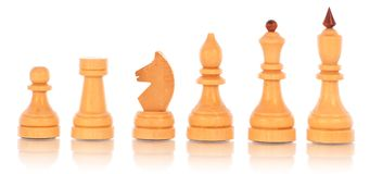 Chess. a group of white wooden chess pieces Stock Images