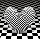 Chess heart on the chess background Royalty Free Stock Photography
