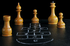 Chess and hopscotch board Royalty Free Stock Photo