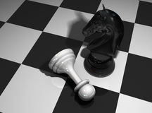 Chess horse and pawn Stock Photo