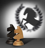 Chess horse with shadow as a winner.  Stock Photo