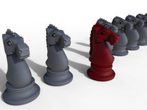 Chess horse target in row concept. 3D rendered illustration of multiple chess horses arranged in a line. One piece is colored in red and positioned forward Stock Images