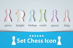 Chess icon King, Queen, Castle Bishop Knight Pawn. Vector eps 10 Stock Image