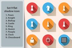 Chess icon King, Queen, Castle, Bishop, Knight, Pawn. Chess icon King, Queen, Castle Bishop Knight Pawn Vector eps 10 Stock Image