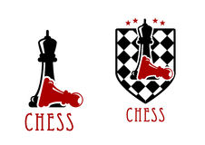 Chess icon with queens over fallen pawns Royalty Free Stock Image